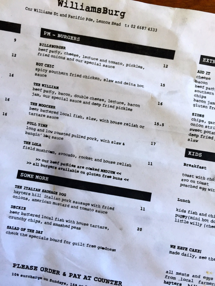The burger menu looked like this