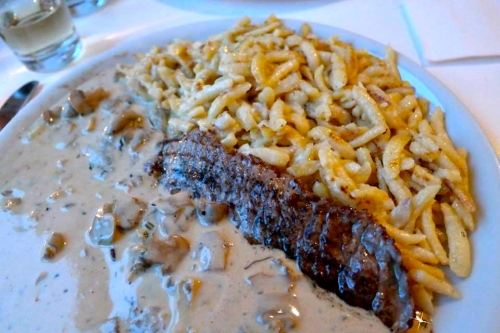 Jagarscnitzel with spatzle and mushroom sauce