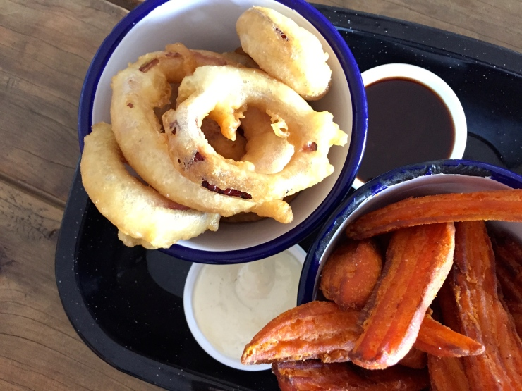 The best sweet potato wedges with the third best onion rings