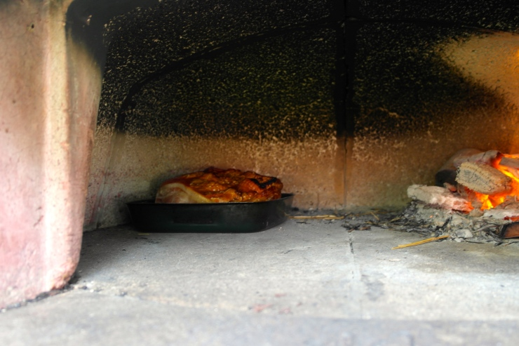 The porky in the pizza oven