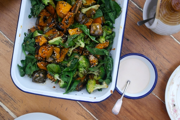 That salad with the tahini-coconut dressing