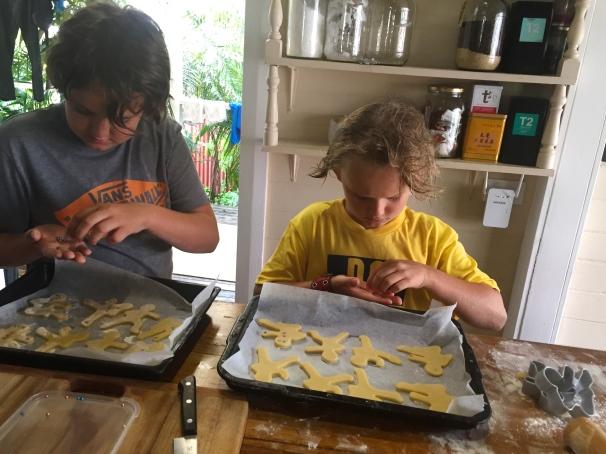 "The boys making ""ninja bread men"". Pretty cute"