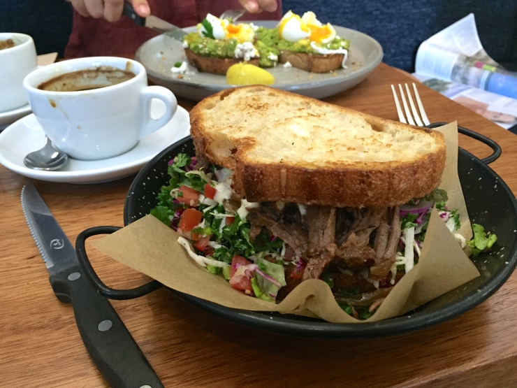 A damn tasty pulled beef sandwich and cracking coffee at Griffith Street Larder