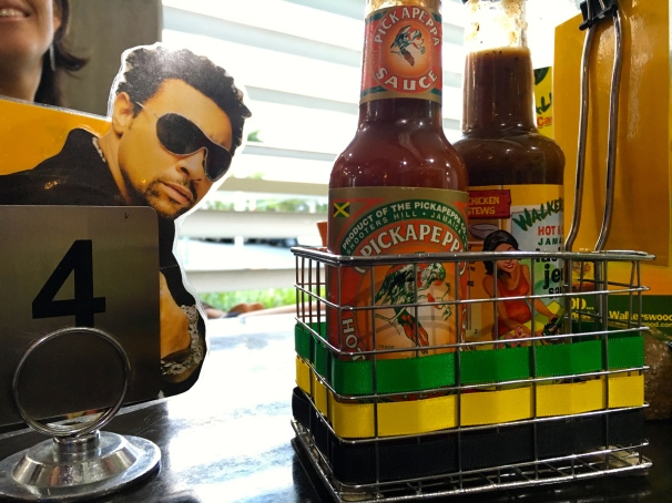 Shaggy watching over the hot sauces