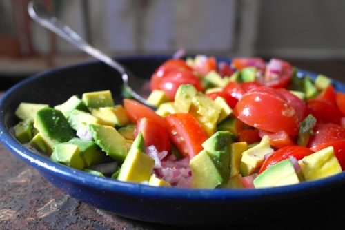 Make a little avocado and tomato salad dressed with some lime juice. That's the sort of shit that tastes good and is super healthy for you too