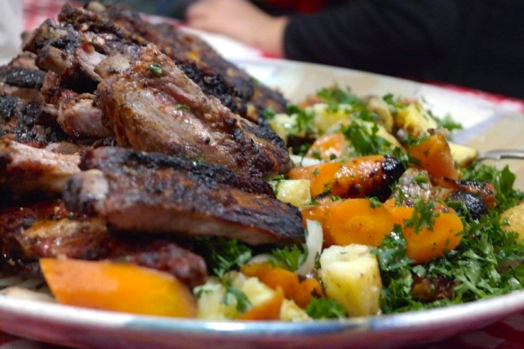 Pork ribs and coal roasted vegetables are good times