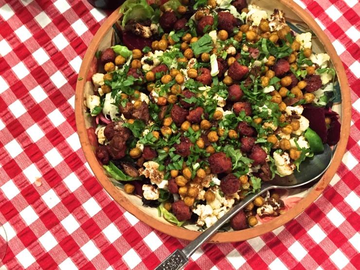 cauliflower, chickpea, chorizo salad