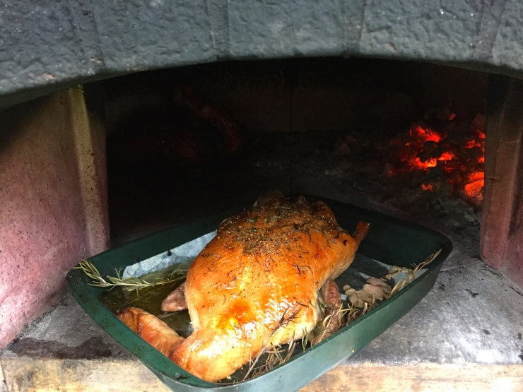The bird after it's time in the wood fired oven