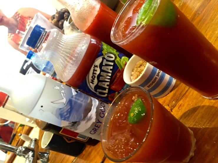 We certainly did drink a bit of booze. Bloody Caesars were my choice de jour... everyone else mostly chose other drinks