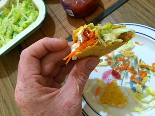 Busted ass taco shell glory. I generally end up with a big pile of taco chips, meat and salad which I savour when my tacos are done