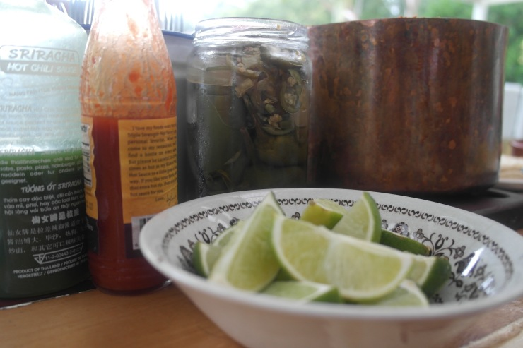 Lime is pretty good too. Hot sauce and jalapeños - both good on the Mexican dinner table